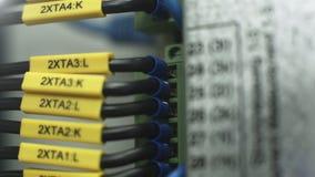 签字的缆绳和导线连接了到电子内阁 股票视频