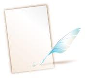 签字的羽毛纸笔 库存照片