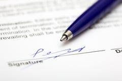 签的合同 库存照片