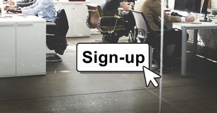 签约加入注册成员网络页用户概念 免版税库存照片