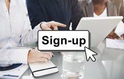 签约加入注册成员网络页用户概念 图库摄影