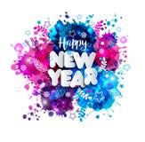 签署在纸样式的新年快乐在多色手拉的污点 库存照片