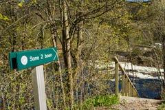 签署指向Sone 2,其中一个可能为三文鱼钓鱼在萨蒙河Tovdalselva,在克里斯蒂安桑,挪威 免版税库存照片