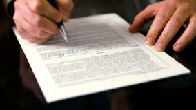 签署的合同 影视素材