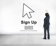 签署记数器加入申请人注册进入会员资格概念 免版税库存照片