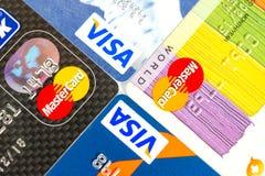 签证和万事达卡 免版税库存图片