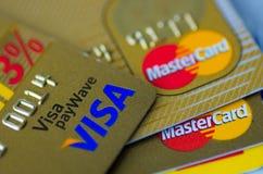 签证和大师信用卡 库存图片