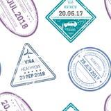 签证图章或封印无缝样式旅行和国家国界的横穿 向量例证