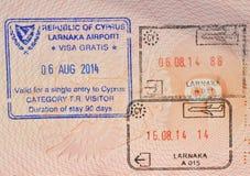 签证在塞浦路斯 免版税图库摄影