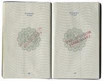 签证标记的页在土耳其护照 免版税库存图片