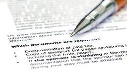 签证申请要求名单 库存图片