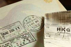 签证被盖印的场面 库存图片