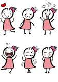 简单动画片逗人喜爱的女孩 库存图片
