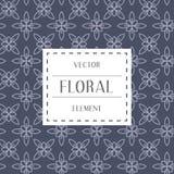 简单和优美的花卉样式设计模板,典雅的lineart商标设计,传染媒介象例证 现代样式 库存图片
