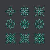 简单和优美的花卉组合图案设计模板,典雅的lineart商标设计,传染媒介象例证 现代样式 库存图片