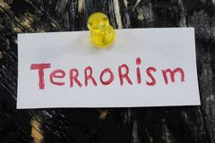 简单和可理解的题字,恐怖主义 免版税库存图片