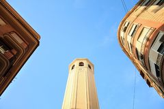 简单派建筑学大厦在巴塞罗那,西班牙 免版税库存照片