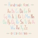 简单的五颜六色的手拉的字体 完成abc 免版税库存图片