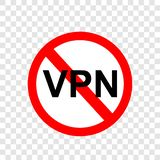简单的传染媒介标志不VPN,虚拟专用网络,在透明作用背景 库存例证