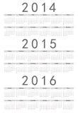 简单的俄语2014年2015年, 2016年日历 免版税库存图片