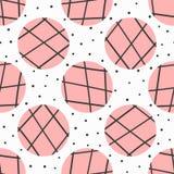 简单的几何无缝的样式 圆点和圈子与用手被画的线 向量例证
