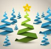 简单的向量纸张圣诞树 免版税库存照片