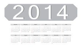 简单的向量2014日历 免版税库存照片