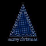 简单的圣诞树蓝色剪影  图库摄影