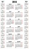 简单的垂直的传染媒介日历2018年和2017 2019年 库存图片