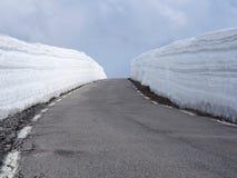 简单的多雪的轮胎轨道-画象 有高雪墙壁的山路在挪威 免版税图库摄影