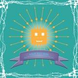 简单的太阳动画片例证 免版税库存图片