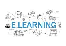 简单的套网上教育相关传染媒介线象 包含这样象象录影讲解,EBook,网上演讲, 向量例证
