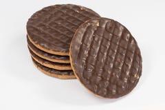 简单的巧克力Digestives 免版税库存图片