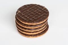 简单的巧克力Digestives 库存图片