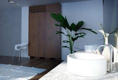 简单的建筑家庭卫生间室内设计 免版税库存照片