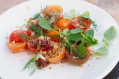 简单的开胃菜用蕃茄和鸭子肉 免版税库存图片