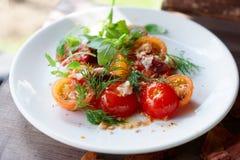 简单的开胃菜用西红柿和熏制的鸭子内圆角 库存图片