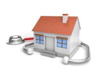 简单的房子和听诊器 免版税库存照片
