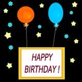 简单的方形的庆祝卡片与热空气气球和题字生日快乐! 免版税图库摄影