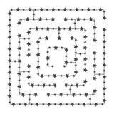 简单的方形的迷宫-满天星斗的天空 比赛孩子 孩子的难题 一个入口,一出口 迷宫难题 平的传染媒介illu 向量例证