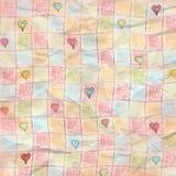 简单的方格的心脏被佩带的被折叠的难看的东西纸背景 库存例证