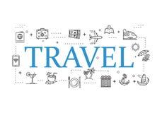简单的旅行象集合 使用的普遍旅行象为网和流动UI,套基本的UI旅行元素 皇族释放例证