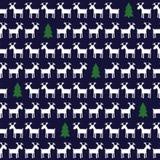 简单的无缝的圣诞节样式-鹿, xmas树 图库摄影