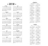 简单的日历在2018年和2019年, 2020年模板日期天设计月企业组织者计划者传染媒介 库存例证