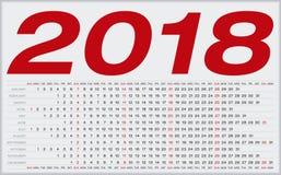 简单的日历在2018年 在栅格内的数字 免版税库存照片