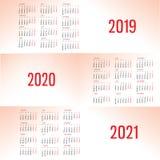 简单的日历模板在2019年, 2020年和2021年 星期从星期一开始 皇族释放例证