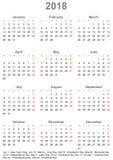 简单的日历2018年与美国的公休日 库存照片