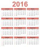 简单的日历2016年 在星期天,星期起始时间 库存图片