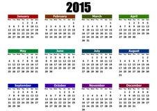 简单的日历2015年 免版税库存照片