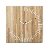 简单的木墙壁手表-在白色隔绝的时钟 免版税库存图片